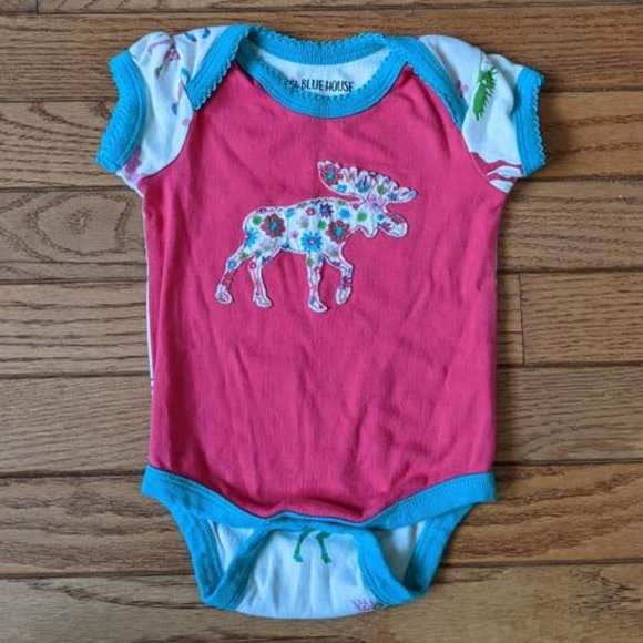 Little Blue House Moose Canada Onesie